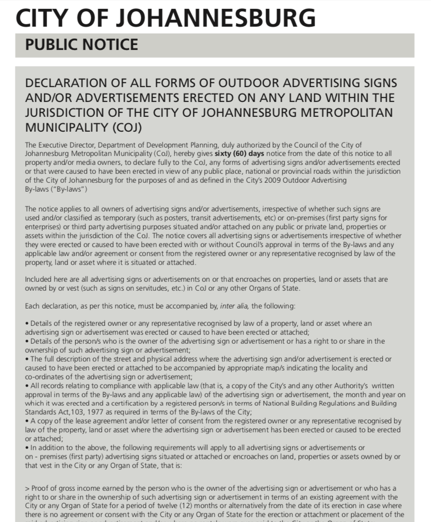 COJ Outdoor Advertising Notice